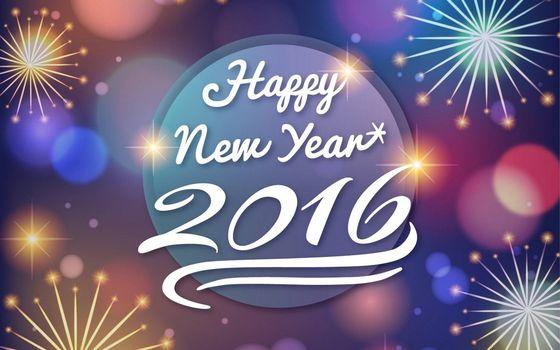 happy new year, 2016, с новым годом, надпись, фейерверк