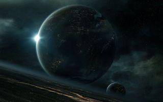 Фото бесплатно планеты, спутник, восход солнца