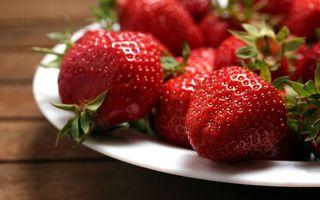 Бесплатные фото тарелка,ягода,клубника,красная,хвостики,зеленые