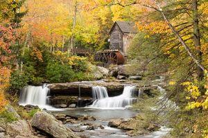 Бесплатные фото Glade Creek Grist Mill,West Virginia,осень,мельница,водопад,деревья,скалы