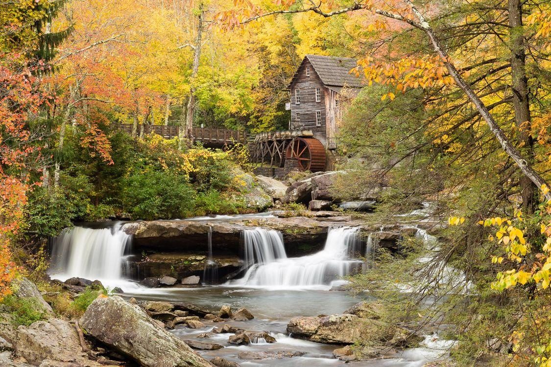 Фото бесплатно мельница, Glade Creek Grist Mill, водопад - на рабочий стол