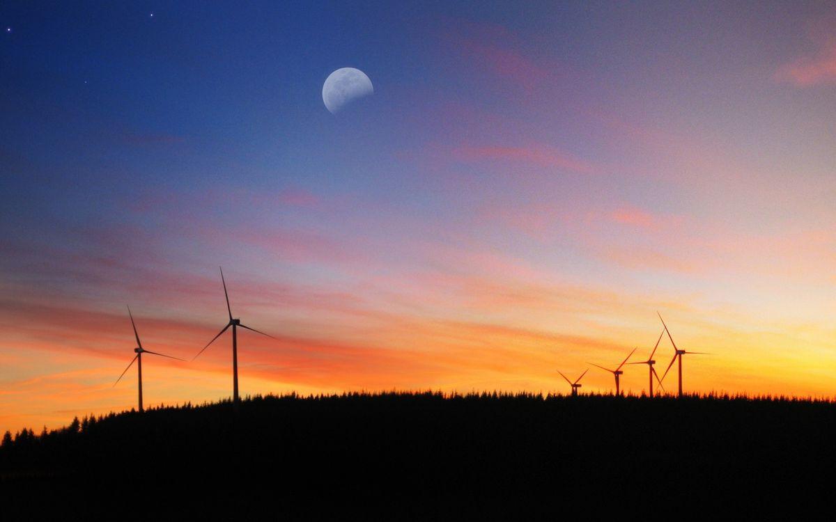 Фото бесплатно вечер, поле, ветряки - на рабочий стол