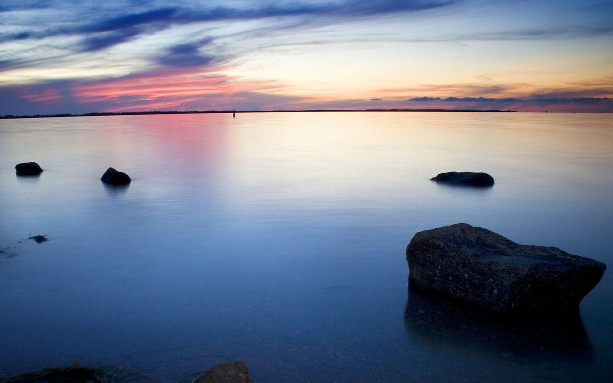 Фото бесплатно облака, камни, озеро - на рабочий стол