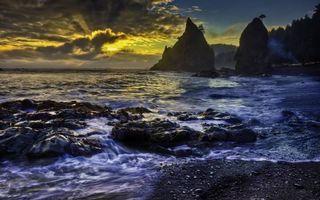 Бесплатные фото берег,камни,деревья,море,скалы,небо,закат