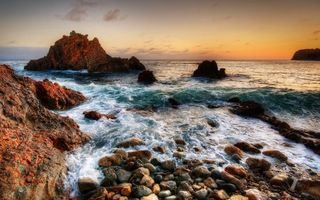 Бесплатные фото берег, камни, скалы, море, горизонт, небо, закат