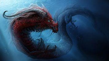 Бесплатные фото дракон,океан,арт