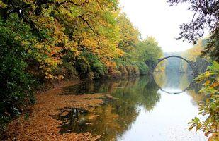 Фото бесплатно Рододендронпарк Кромлау, река, осень