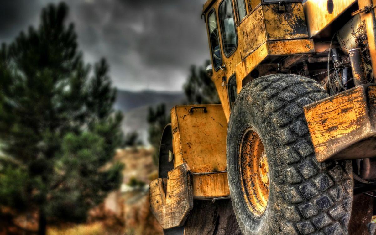 Фото бесплатно спецтехника, каток, трактор, желтый, грязный, колесо, протектор, машины