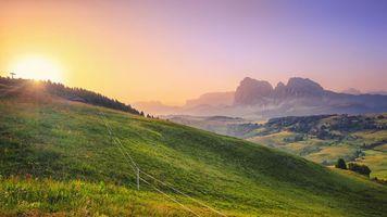 Обои Альпы, Италия, закат, горы, холмы, пейзаж