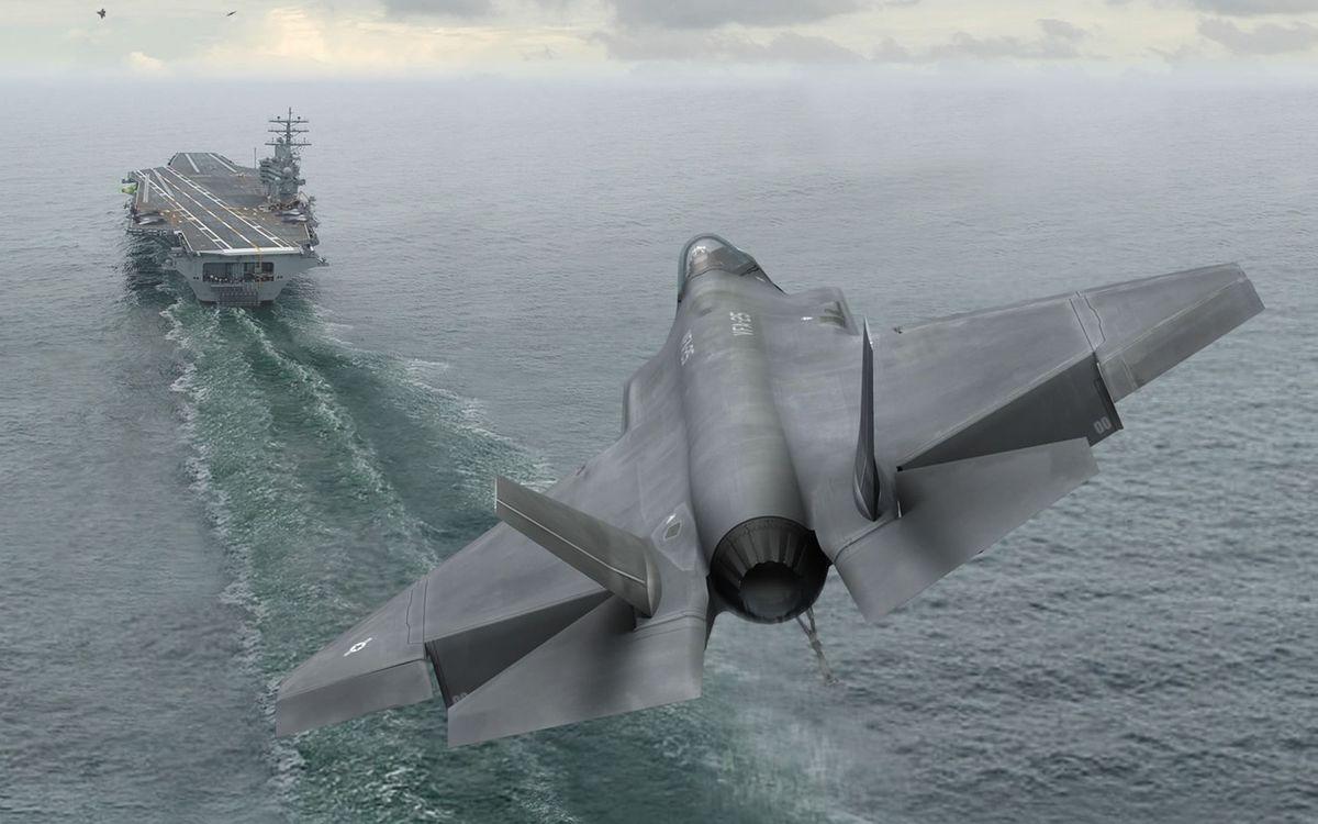 Обои море, корабль, авианосец, самолет, истребитель, посадка на телефон | картинки оружие