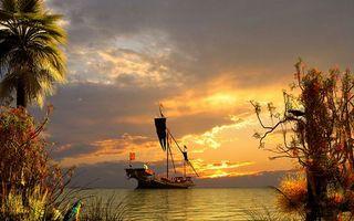 Бесплатные фото море,корабль,мачты,берег,растительность,попугай,небо