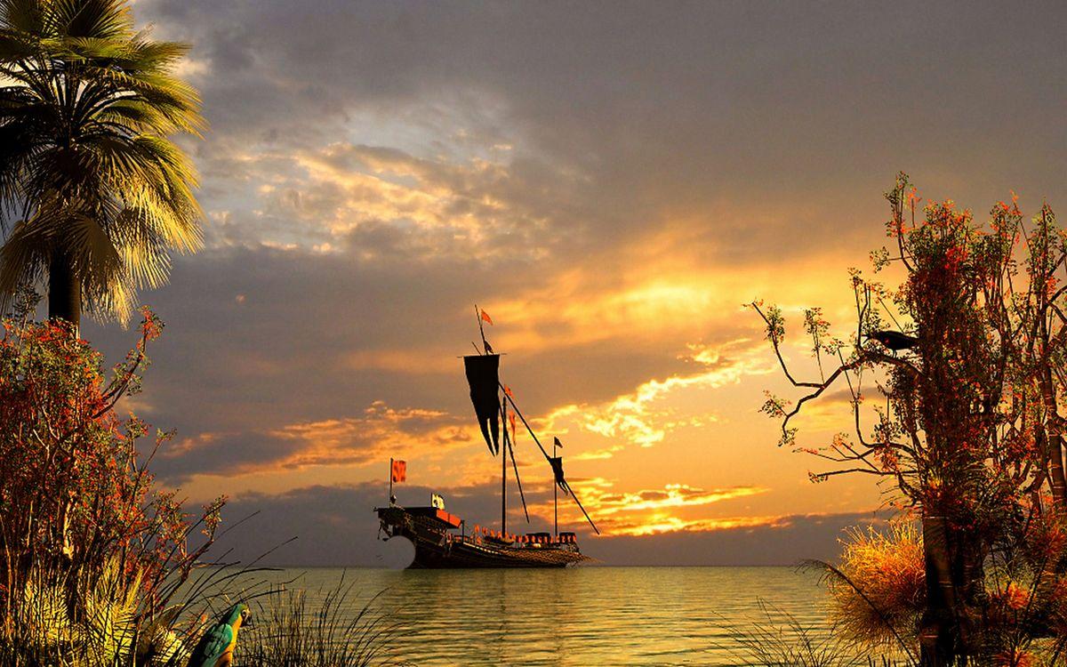 Фото бесплатно море, корабль, мачты, берег, растительность, попугай, небо, закат, корабли
