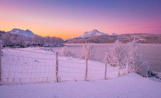 Фото бесплатно закат, зима, горы