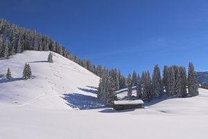 Бесплатные фото зима,горы,снег,деревья,домик,пейзаж