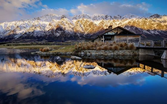 Фото бесплатно дом на берегу озера, горы, отражение