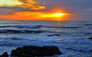 Бесплатные фото закат,солнце,океан,волны,небо,облака