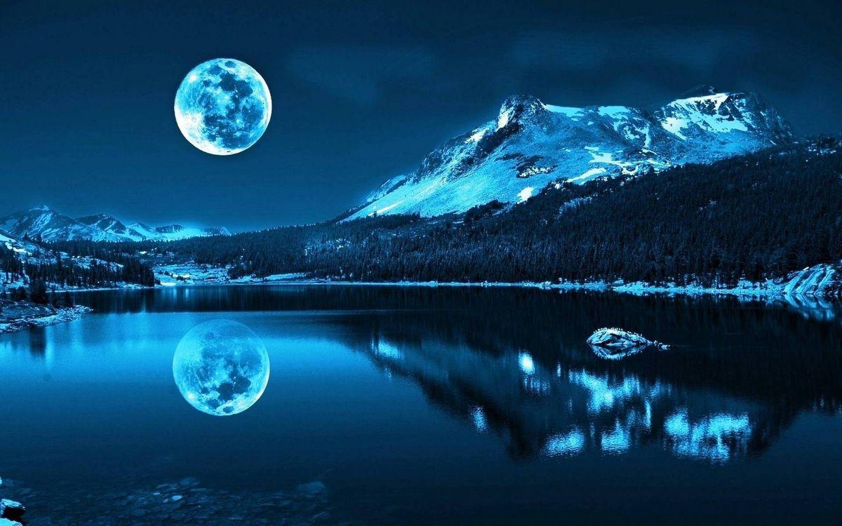Фото бесплатно зима, ночь, озеро, горы, лес, сугробы, небо, луна, пейзажи