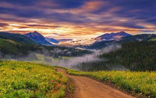 Бесплатные фото горы,тропа,дорога,деревья,туман,закат,небо