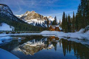 Бесплатные фото Banff National Park,Alberta,Canada,горы,река,домик,зима
