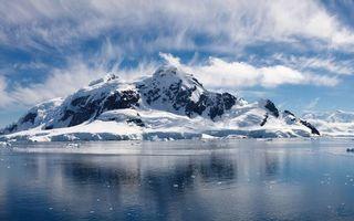 Бесплатные фото море,льдины,горы,скалы,снег,небо,облака