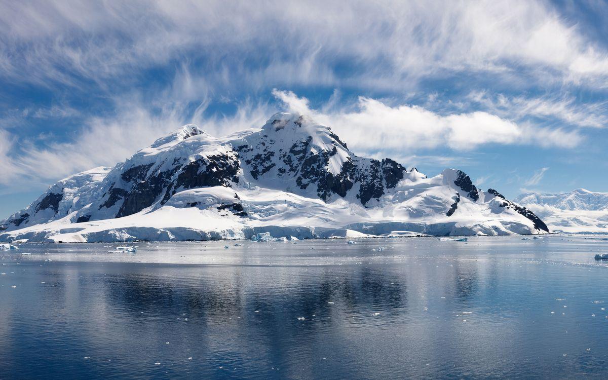Фото бесплатно море, льдины, горы - на рабочий стол