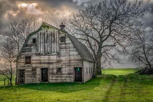 Фото бесплатно поле, дом, закат