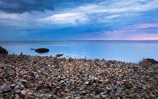 Бесплатные фото берег, камни, море, горизонт, небо, облака