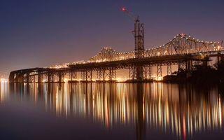 Заставки большой мост, пролив, вечер, фонари, освещение