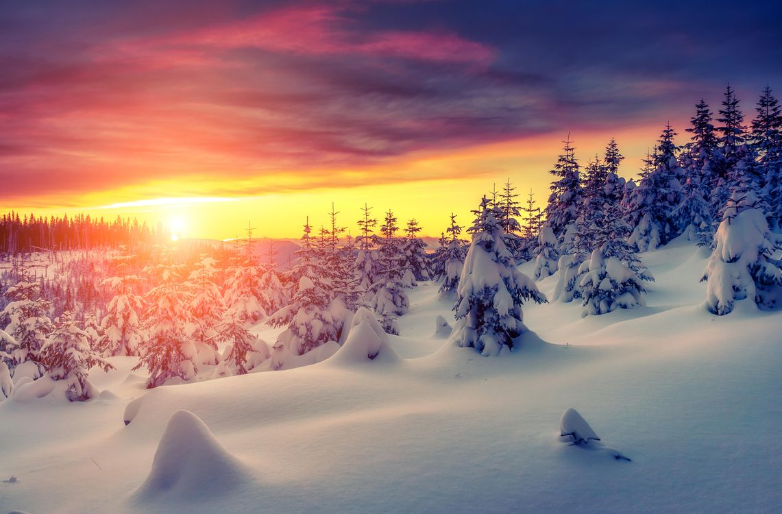 Картинка закат, зима, снег, деревья, сугробы, пейзаж на рабочий стол. Скачать фото обои пейзажи