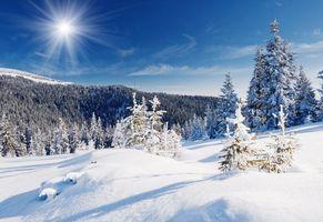 Заставки зима, горы, снег, деревья, сугробы, пейзаж