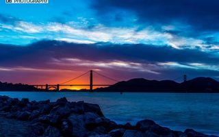 Обои мост, акаси-кайкё, япония, закат, солнца