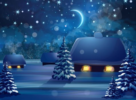 Бесплатные фото зима,снег,ночь,месяц,деревья,домик,новогодняя ночь