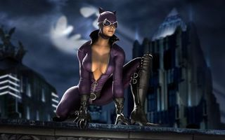 Бесплатные фото женщина кошка,костюм,очки,сапоги,небо,знак бэтмена