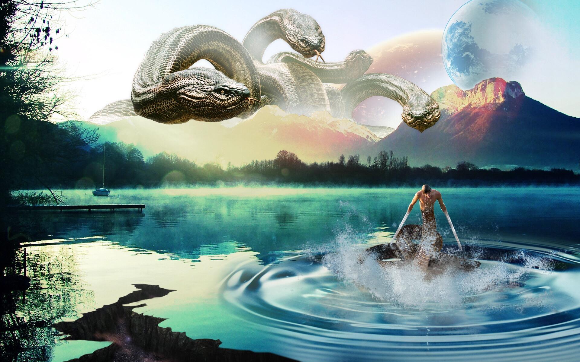 Обои озеро, горы, планета, змея