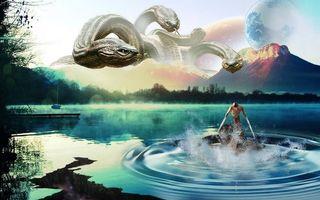 Бесплатные фото озеро,горы,планета,змея,фантастика