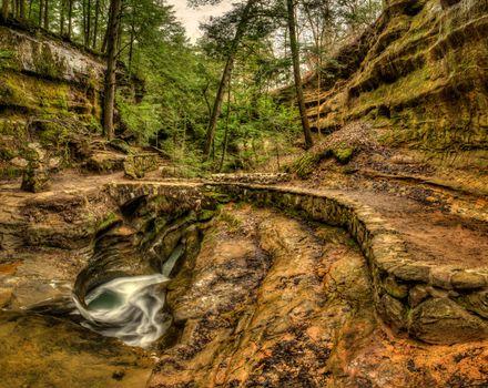 Бесплатные фото Devils Bathtub,Old Mans Cave,Hocking Hills State Park,ohio waterfalls,скалы,деревья,водопад,природа