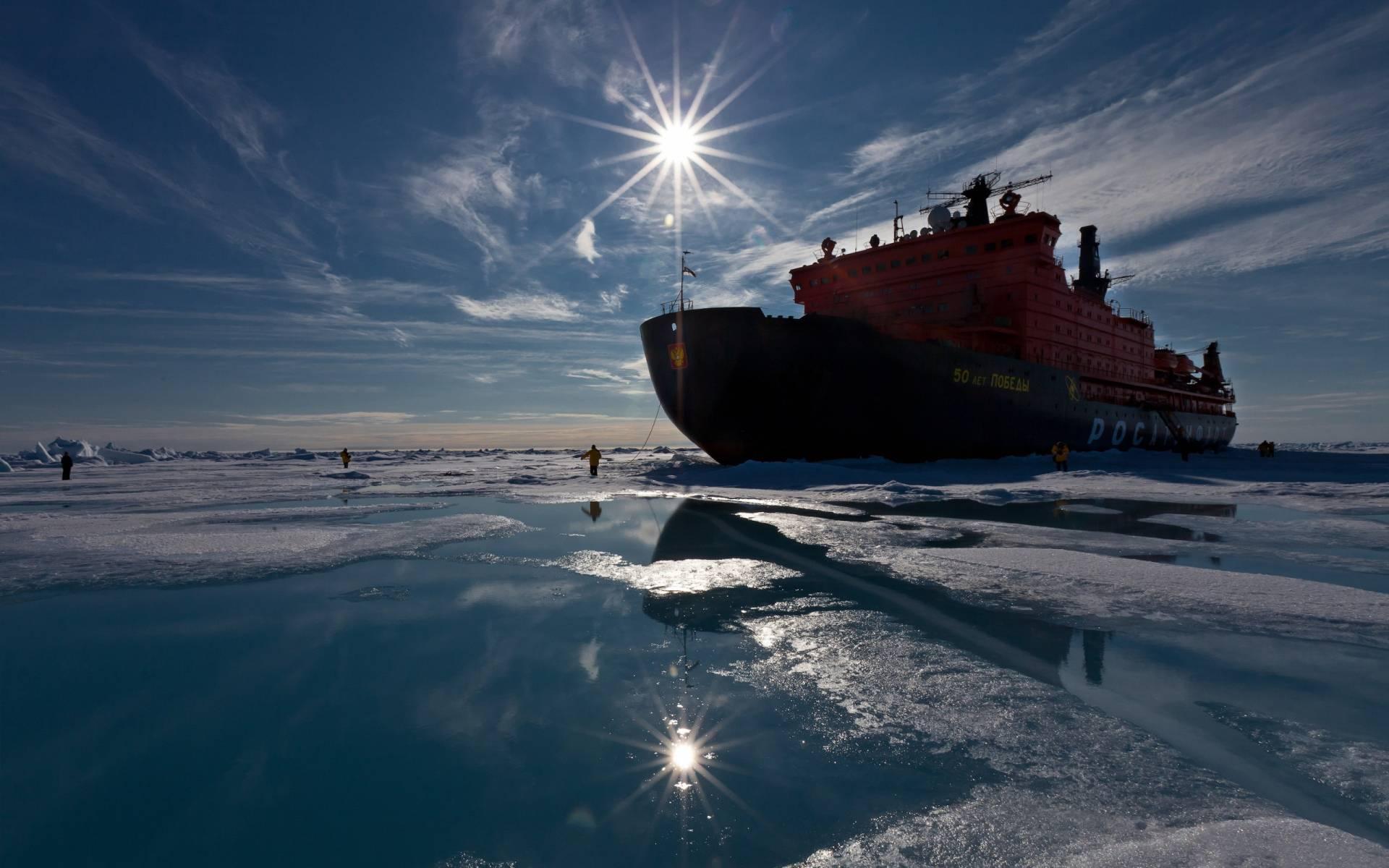 обои ледокол, судно, люди картинки фото