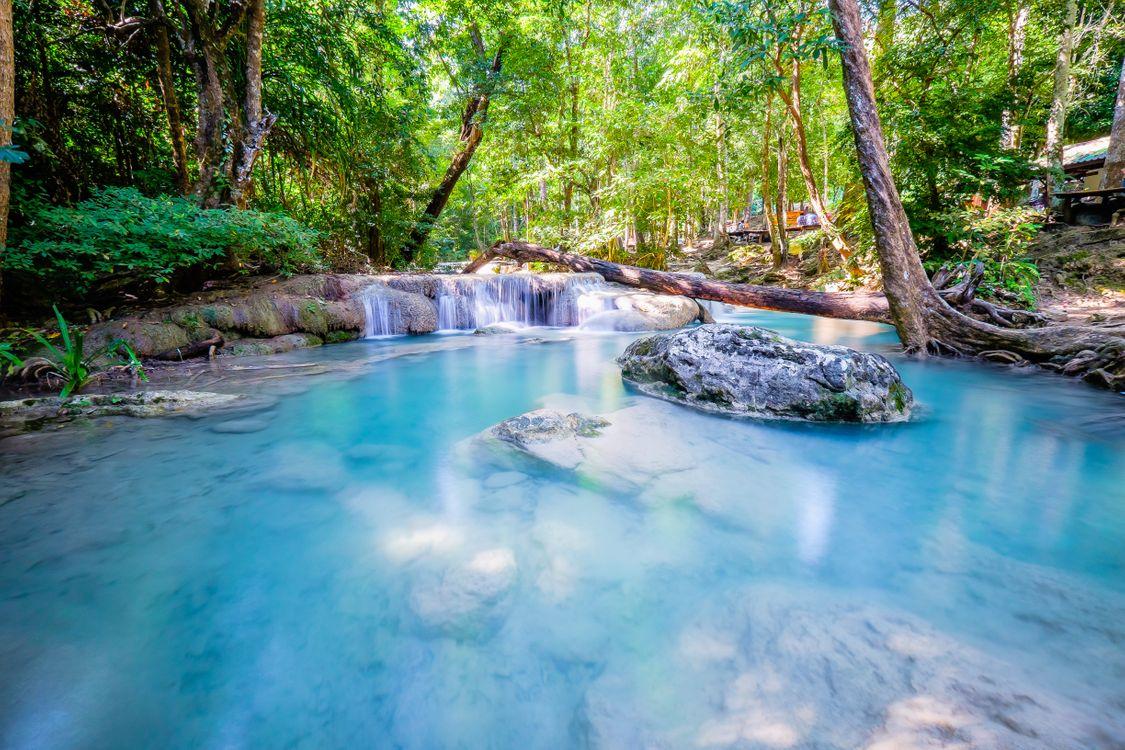 Photos for free beautiful waterfall, Erawan, Thailand - to the desktop