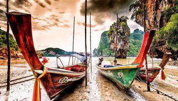 Фото бесплатно лодки, остров Джеймса Бонда в провинции Пханг Нга, горы