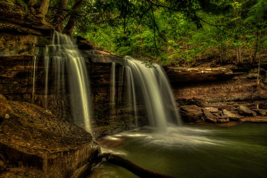Claypool Falls, west virginia, водопад, скалы, деревья