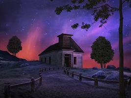 Бесплатные фото ночь,луна,старый дом,сияние,art