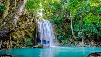 Photo free Kanchanaburi National Park, beautiful waterfall, Thailand