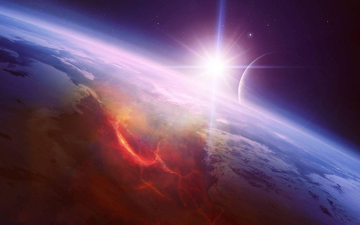 Фото бесплатно Космос, восход солнца, планета, луна, пейзаж, космос