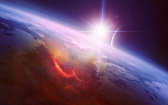 Фото бесплатно Космос, восход солнца, планета