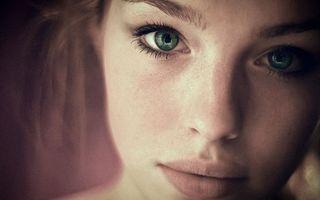 Фото бесплатно девушка, черты лица, зеленые глаза, макро