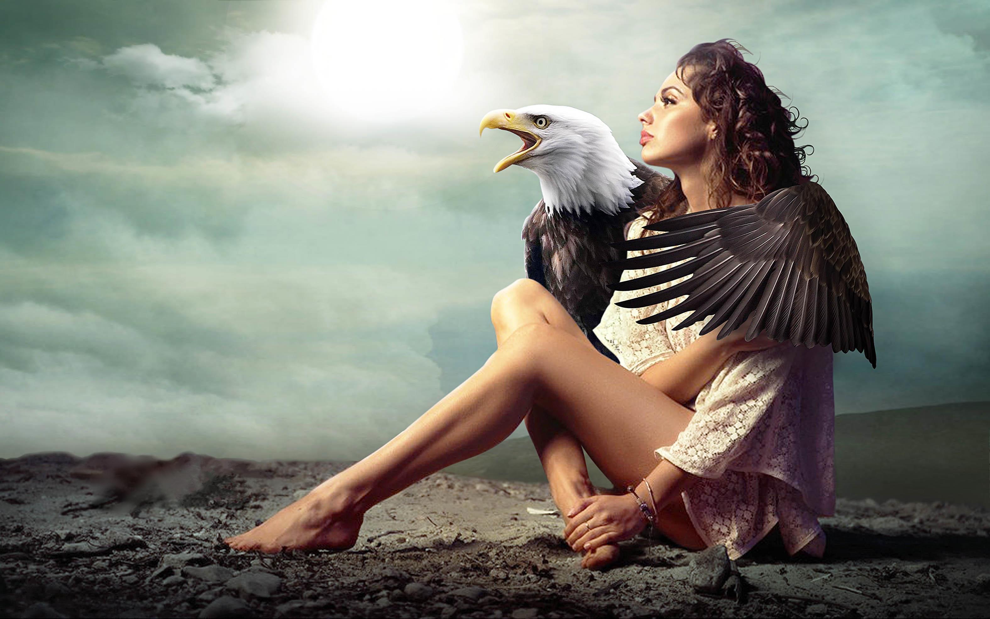 Обои девушка, орёл, art
