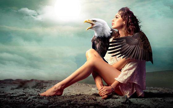 Бесплатные фото девушка,орёл,art