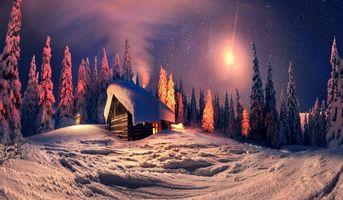 Бесплатные фото зима,ночь,снег,лес,деревья,сугробы,домик
