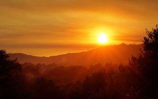 Заставки деревья,горы,небо,солнце,лучи,закат,оранжевый