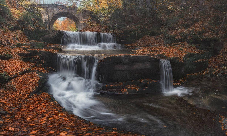 Фото бесплатно осень, река, водопад, мост, лес, деревья, пейзаж, пейзажи